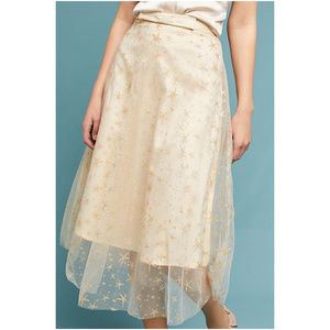 Anthropologie EVA FRANCO Gold Star Tulle Skirt 12